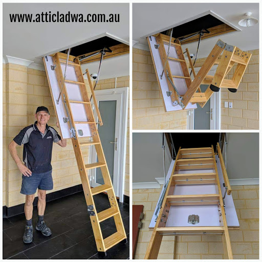 grand wooden attic ladder